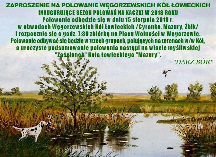 X Inauguracyjne Polowanie Na Kaczki Węgorzewskich Kół łowieckich